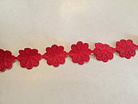 Тесьма декоративная Ромашка 2см красная
