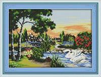 Река и лебеди Набор для вышивания крестиком с печатью на ткани  канва 11СТ