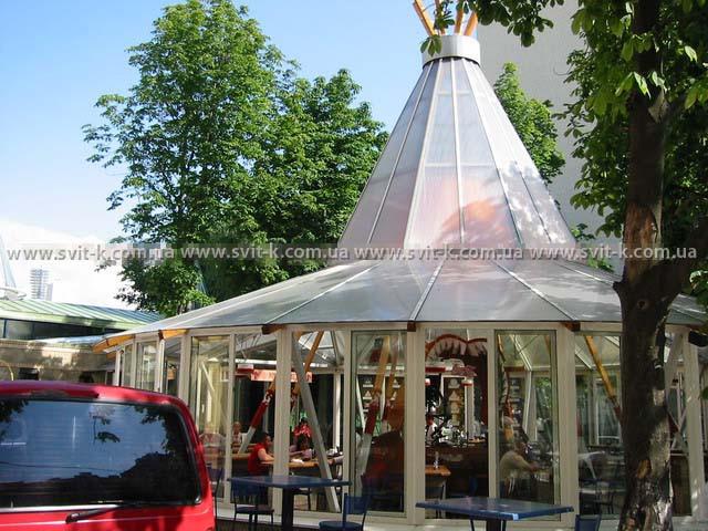 ПМП «Интергейтс» - летняя площадка кафе, сотовый поликарбонат Полигаль