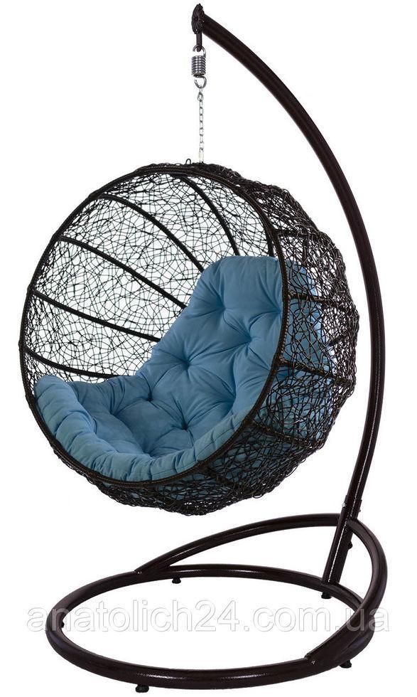 Подвесное кресло Фиеста шоколадно -голубое