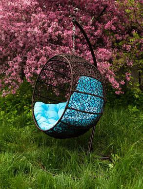 Подвесное кресло Фиеста шоколадно -голубое, фото 2