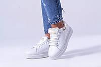 Теплые зимние белые кожаные кроссовки на меху Александр Маккуин