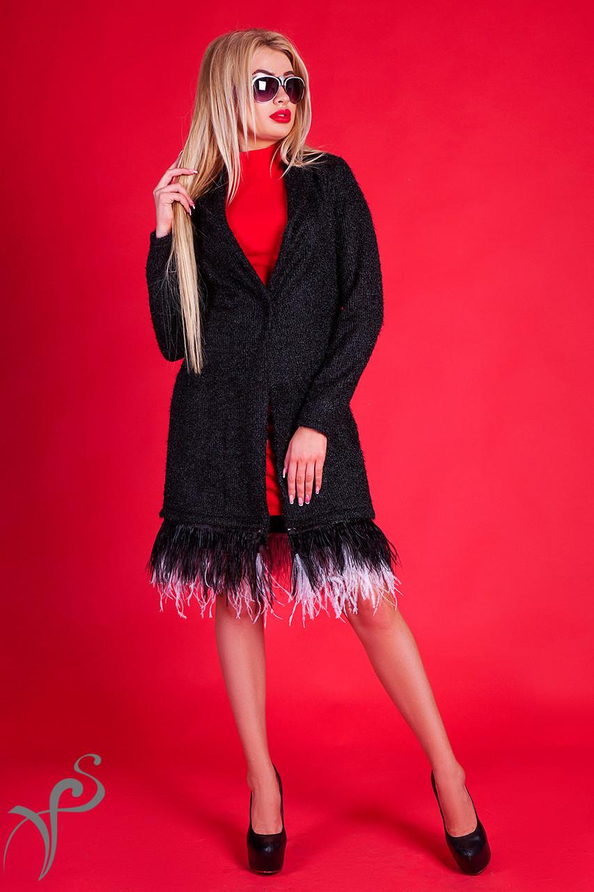 Роскошный кардиган с перьями страуса S-M M-L