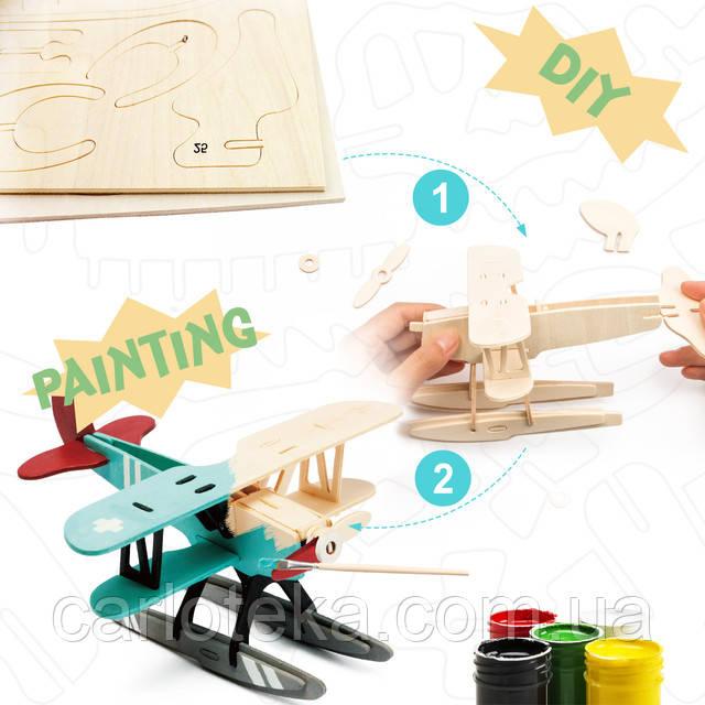 Деревянный 3D конструктор-раскраска Гидроплан: продажа ...