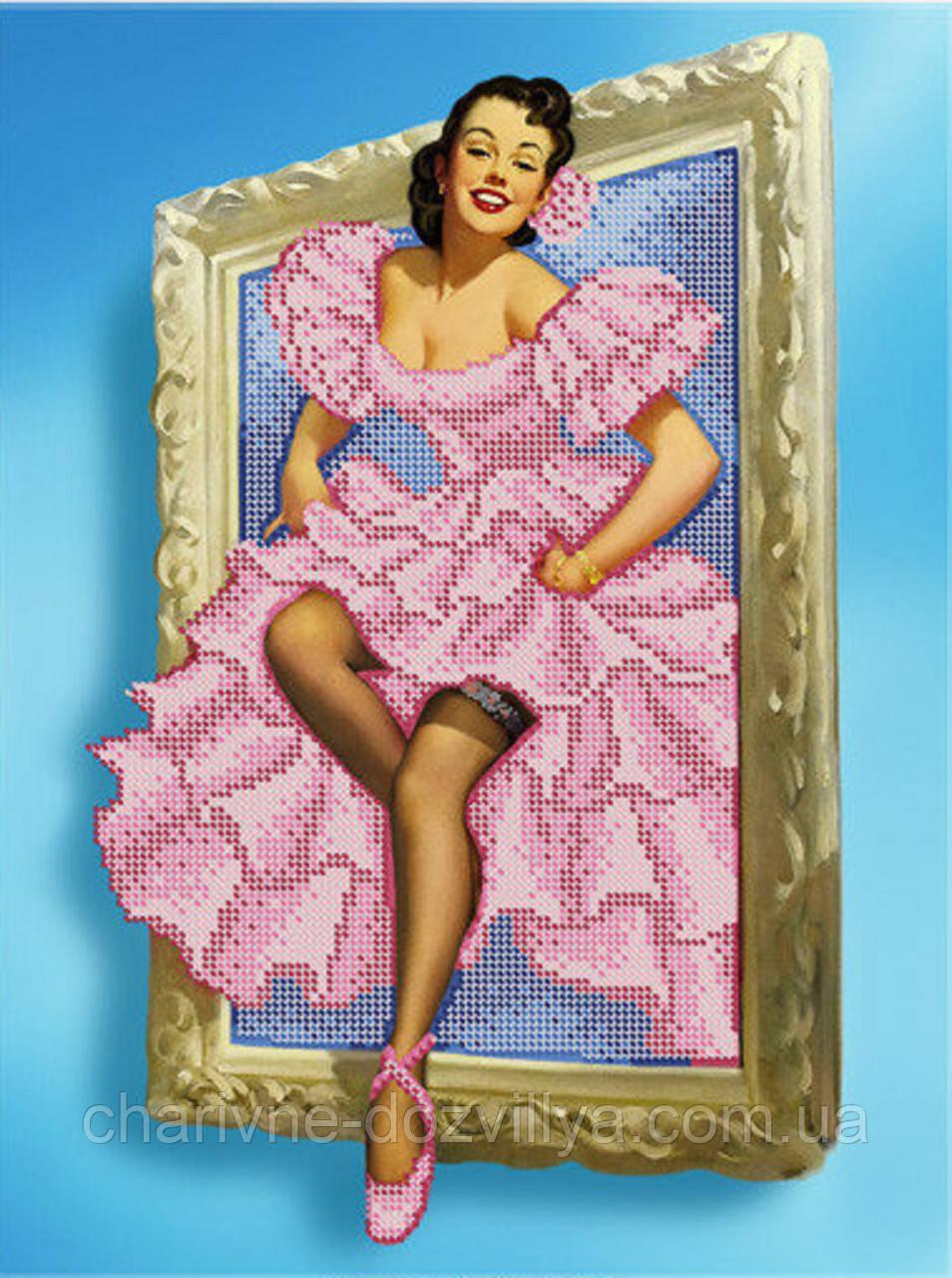 """Схема для вышивки бисером (бісером) на габардине """"Девушка с картины в стиле Пин - Ап"""""""