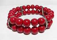 Браслет Коралл двойной, натуральный камень, цвет красный