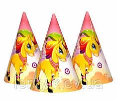 Колпачки, колпаки праздничные карнавальные маленькие 16х10 см. (10 шт./уп.) - Единорог, Разные цвета