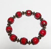 Браслет Коралловый этнический, натуральный камень, цвет красный, бронза