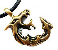 """Амулет Сили """"Дракон До"""" - сила Витяги, розміри - 2,0х2,0х0,2 см., В комплекті шнурок 45 см, бронза, метал"""
