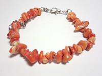 Браслет Коралл крошка, натуральный камень, цвет оранж