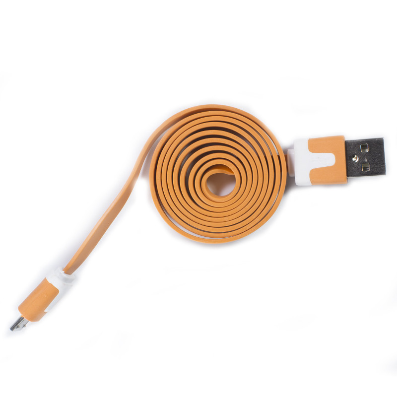 Кабель Lesko microUSB/USB 1m Оранжевый USB лапша для смартфона планшета и навигатора