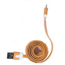 Кабель Lesko microUSB/USB 1m Оранжевый USB лапша для смартфона планшета и навигатора, фото 2