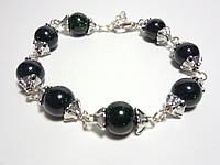 Браслет из Авантюрина стильный, натуральный камень, цвет темно-зеленый