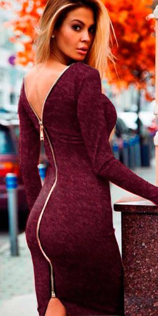 Платье ангоровое на молнии Susan бордовое  (код 111) , фото 1