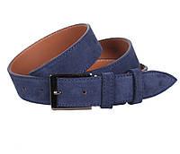 Мужской замшевый ремень синий 3,3 см под брюки Leather Collection ZM-6319