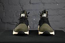 Мужские кроссовки Nike Huarache Winter черно-зеленые топ реплика, фото 2