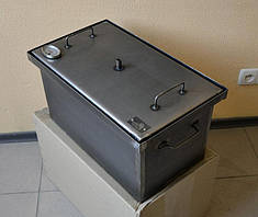 Коптильня черный метал  с гидрозатвором  термометр , S=1.5mm 520x300x280мм