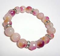 Браслет из Аметрина, натуральный камень, цвет розовый и его оттенки