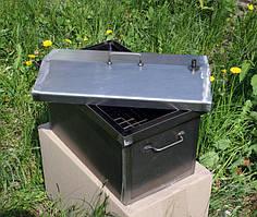 Коптильня черный метал  Крышка домиком 520x300x310мм