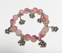 Браслет Аметрин с подвесками Слон, натуральный камень, цвет розовый и его оттенки