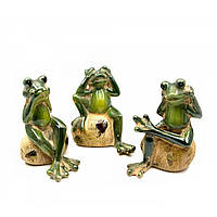 Лягушки керамические н-р 3 шт (не вижу, не слышу, не говорю)(12,5х9,5х8 см)(10808)