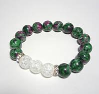 Браслет Цоизит, Горный хрусталь, натуральный камень, цвет зеленый и его оттенки, белый