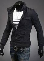 Мужская куртка с карманами на кнопках черная
