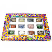 Яйца из полудрагоценных камней (н-р/12шт)(яйцо h-3 см d- 2.5 см)(упаковка 27х18х3,5 см)