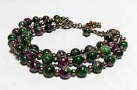 Браслет Цоизит тройной, натуральный камень, цвет зеленый и его оттенки, бронза