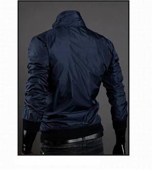 Чоловіча вітровка темно-синя з плащової тканини, фото 2