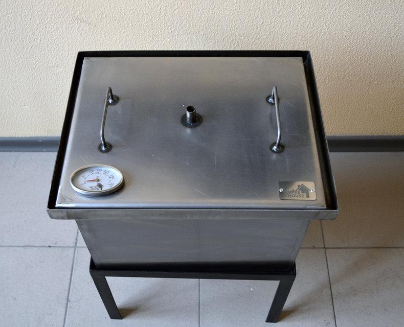 Коптильня горячего копчения с термометром и гидрозатвором 400x300x280мм