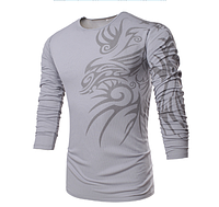 Свитер, свитшот мужской с абстрактным принтом L, XL, XXL серый код 3