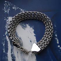 Серебряный браслет, 200мм, 30 грамм, плетение тройной Бисмарк, фото 2