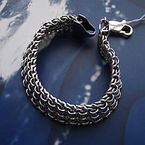 Серебряный мужской браслет, 210мм, 33 грамма, плетение тройной Бисмарк, фото 2