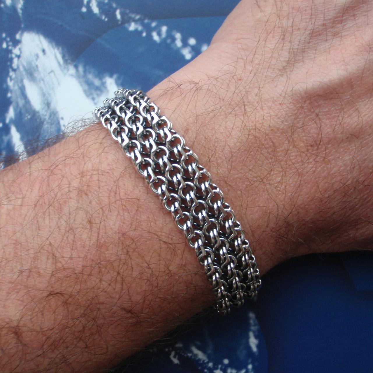 Серебряный браслет, 200мм, 30 грамм, плетение тройной Бисмарк