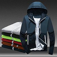 Двухцветная куртка ветровка с капюшоном темно-синяя