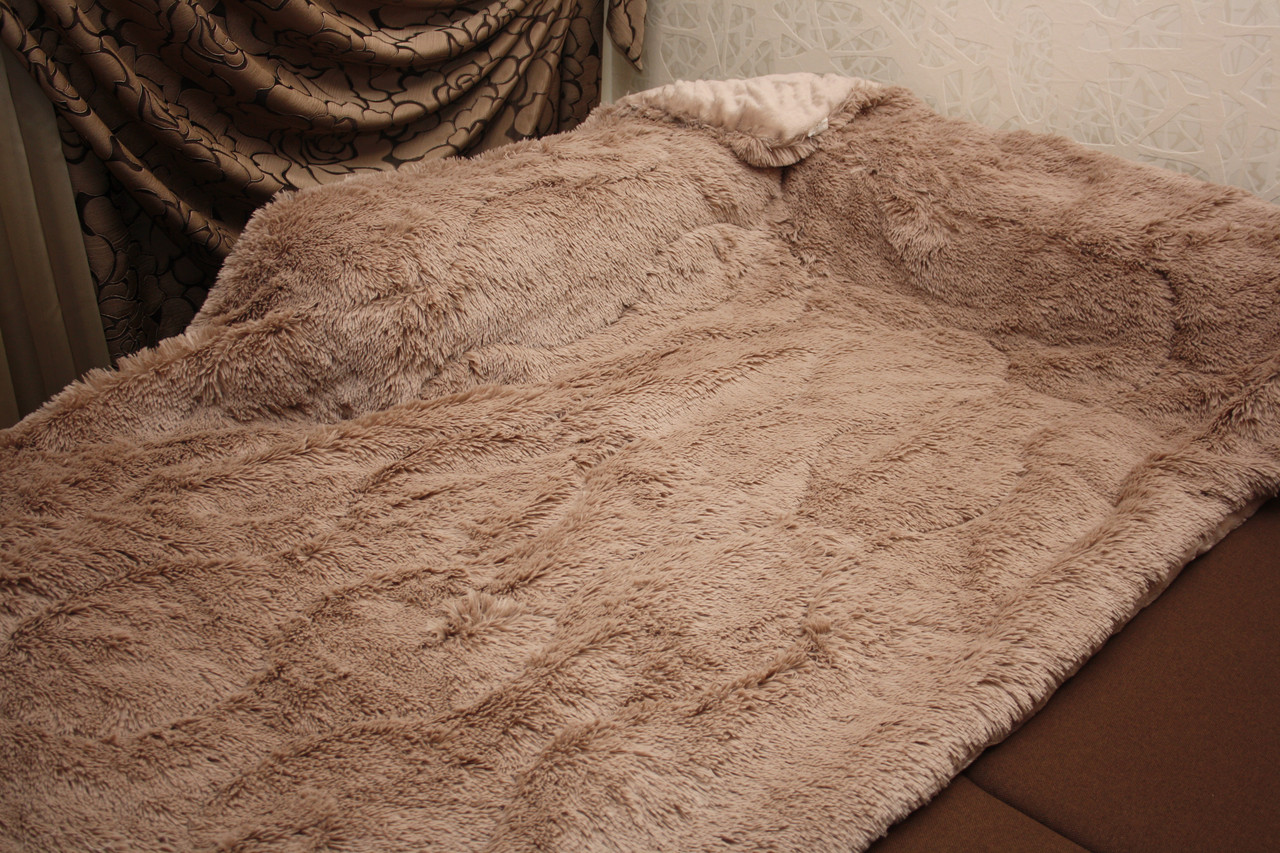 Капучино меховое плед-покрывало с длинным ворсом 150*200