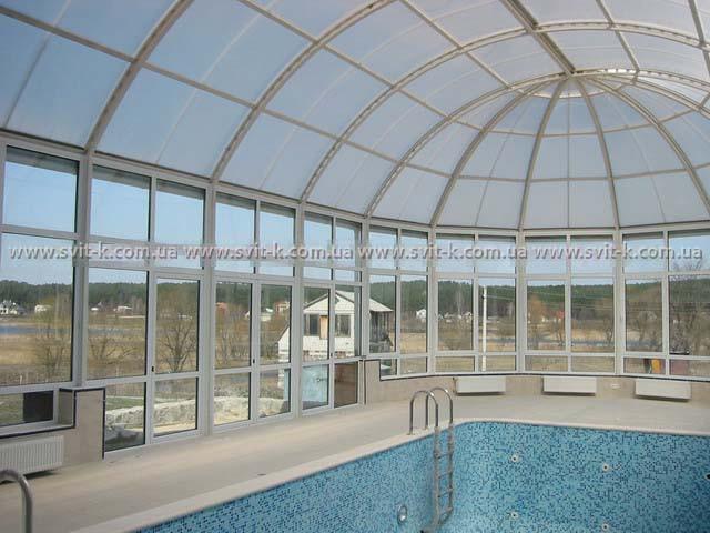 ПМП «Интергейтс» - купол бассейна из сотового поликарбоната Polyga