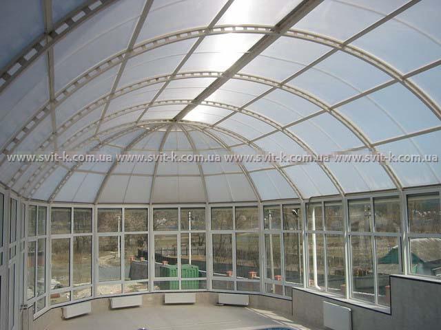ПМП «Интергейтс» - остекление купола бассейна сотовым поликарбонатом