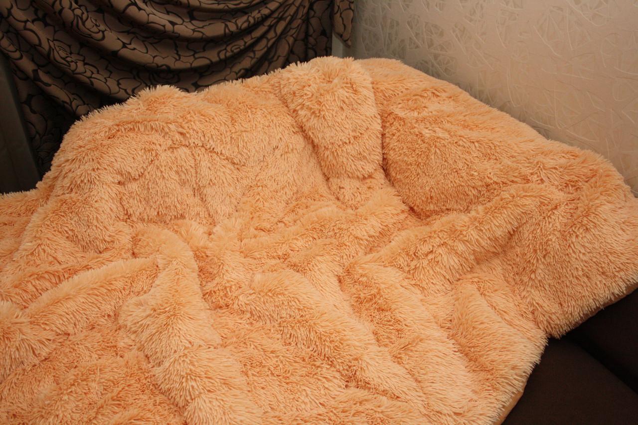 Персик меховое плед-покрывало с длинным ворсом 150*200