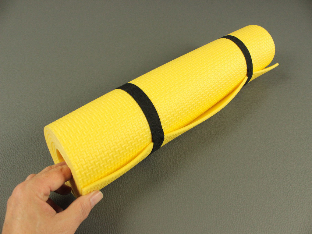 Коврик для фитнеса и йоги Аэробика 5 желтый, размер  140x 50 см., толщина 5мм