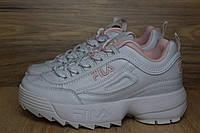 Женские трендовые кроссовки Fila Disruptor 2 белые с розовым