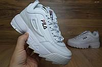 Женские кроссовки Fila Disruptor 2 белые с черным Топ Реплика Хорошего качества