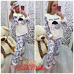 Женская теплая махровая пижама Турция