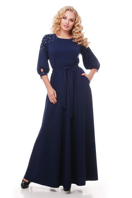 Женское шикарное платье в пол Вивьен темно-синее (48-58)