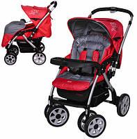 Детская коляска универсальная с алюминиевой рамой и перекидной ручкой G328-3 красная