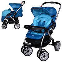 Детская коляска универсальная с алюминиевой рамой и перекидной ручкой G328-12 синяя