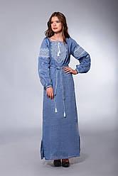 Довге плаття з вишивкою, льон джинс