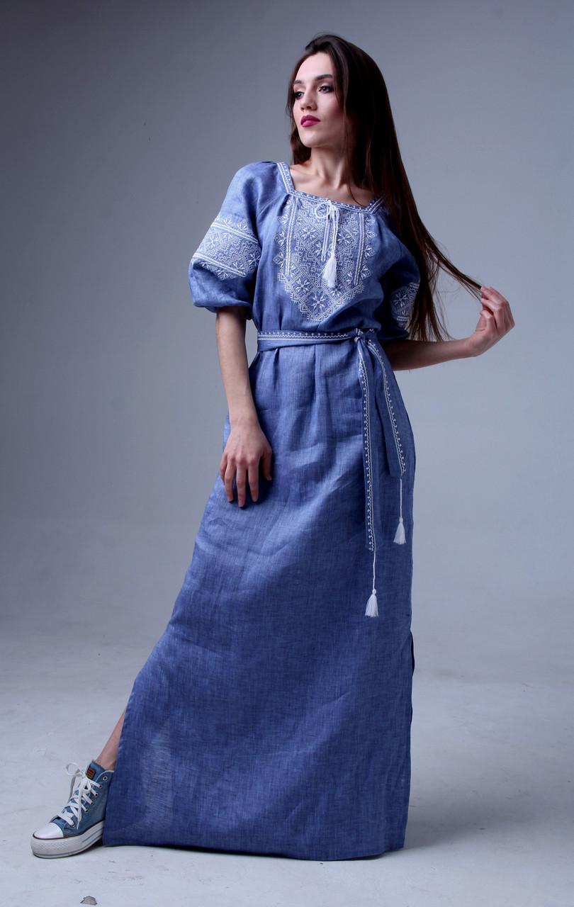 3dedca62c54660 Довге вишите плаття, рукав 3/4, льон джинс: продажа, цена в Яготині ...