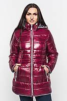 Зимняя теплая женская водоотталкивающая стеганая куртка со съемным капюшоном на синтепоне 90107/1, фото 1